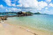 Pigeon Island Beach - tropical coast on the Caribbean island of St. Lucia. It is a paradise destination with a white sand beach and turquoiuse sea. © Simon Dannhauer @ fotolia.com